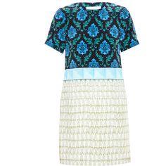 MARY KATRANTZOU Printed Silk Dress (€1.080) ❤ liked on Polyvore featuring dresses, white silk dress, digital print dress, mary katrantzou, short sleeve silk dress et short sleeve dress