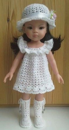 Ideas For Crochet Dress Doll Inspiration Knitting Dolls Clothes, Crochet Doll Clothes, Knitted Dolls, Girl Doll Clothes, Doll Clothes Patterns, Crochet Toys, Crochet Girls Dress Pattern, Crochet Baby Sweater Pattern, Baby Sweater Patterns