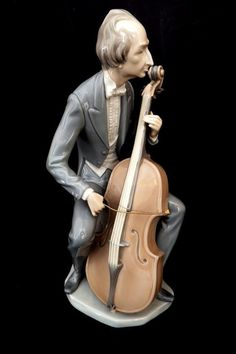 VINTAGE LLADRO PORCELAIN SPAIN RARE CELLO PLAYER LARGE FIGURE No: 4651 RETIRED in Pottery, Porcelain & Glass, Porcelain/ China, Dresden | eBay