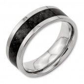 Titanium 8mm Polished with Black Carbon Fiber Inlay Men's Wedding Band
