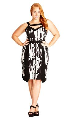995b1239378 Plus Size Mono Graphic Dress - City Chic Plus Size Fashionista