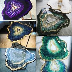 Resin Geode Tables by Mrs. Colorberry Resin Geode Tables by Mrs. Resin And Wood Diy, Diy Resin Art, Acrylic Resin, Acrylic Pouring, Resin Crafts, Resin Table Top, Geode Decor, Resin Furniture, Modern Rustic Decor