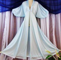 "M.L.Vtg.""Movie Star"" Shiny semi sheer blue vintage peignoir-robe nightie,sweep #MovieStar"