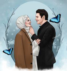 Cute Love Art Cartoon and Couple Cartoon, Girl Cartoon, Cartoon Art, Cute Muslim Couples, Cute Anime Couples, Cute Love Images, Islamic Cartoon, Anime Muslim, Hijab Cartoon