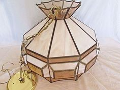 Vintage Light Pink and Tinted Stained Glass Hanging Lamp Fixture