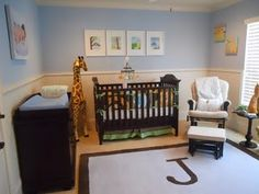 Nursery. Love the rug with the first initial on it, and the rocking chair!! Cute for a boys room.