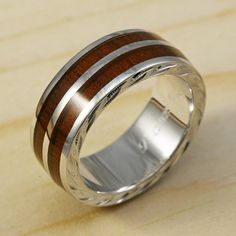 Silver Hawaiian Engraved Barrel Ring with Rose Wood Inlaid (6mm width)