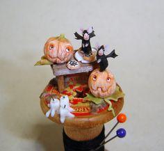 La Bottega delle Fate: Halloween! - Bat-mice on spool