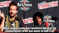 "At NYC Comic-Con when Tom referred to himself as a ""flouncing tart"". 