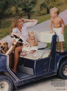 Photo of India Hicks with her sons Felix and Amory and their dog Barrell in Harbour Island, one of the Out Islands of The Bahamas, by Jeffery Salter, 2001.