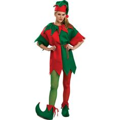 Complete your costume with these two tone elf costume tights. - One pair of green and red tights - SKU: CA-017276