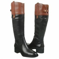 Love these, want these two tone riding boots by Franco Sarto.  Leather knee-high riding boots have a contrasting collar; 15 inch shaft height, 14 ½ inch circumference and a 1 ½ inch heel. $139.99 at Famous Footwear. Regularly $200.