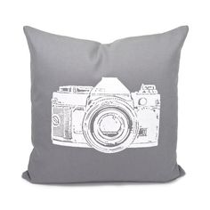 white vintage camera pillow cover