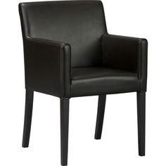 Lowe Onyx Leather Arm Chair in Dining Chairs | Crate and Barrel