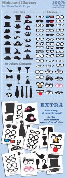 Hats and Glasses for Photo Booth Props — Vector EPS #cartoon #print ready • Available here → https://graphicriver.net/item/hats-and-glasses-for-photo-booth-props/3120956?ref=pxcr