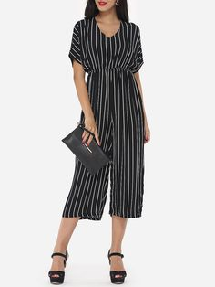 Hollow Out Striped Loose Fitting Elegant Jumpsuits
