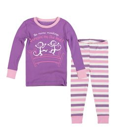 Lavender 'Monkeys' Pajama Set - Infant, Toddler & Girls by Slumber Party #zulily #zulilyfinds