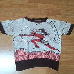 VINTAGE 1940'S/1950'S INDIAN NATIVE AMERICAN CABLE KNIT ROCKABILLY SHIRT - NR