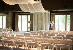 Beautiful draped altar at Postoak Lodge. Photo by Imago Vita Photography. #wedding #altar #white #drapery