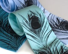 Peacock feather silkscreened silk necktie, black ink. This is what I would get if I could pull off a tie :p