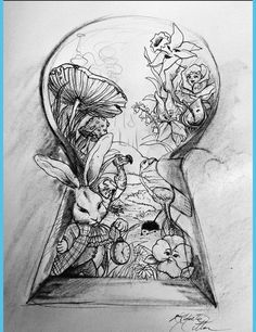 Creative Drawing Alice In Wonderland Key Black and White Drawing - Yahoo Image Search Results - Hipster Drawings, Disney Drawings, Art Drawings Sketches, Cool Drawings, Tattoo Sketches, Drawing Disney, Drawing Art, Fairy Drawings, Drawing Tips