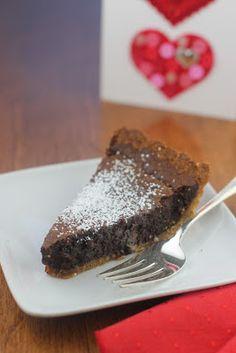 The perfect Valentine dessert:  rich, chocolatey brownie pie.    #brownies  #dessert