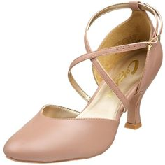 """Capezio Women's BR09 X-Strap 2.5"""" Flared Heel Shoe ($114) ❤ liked on Polyvore featuring shoes, heels, ballerina shoes, suede shoes, mid heel shoes, capezio shoes and suede leather shoes"""