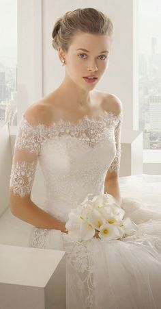 Exquisite A-line Off-the-shoulder Beading&Crystal&Sequins #Lace SweepBrush Train Tulle #Wedding #Dresses