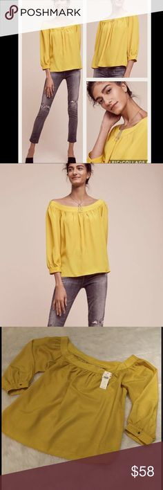 """NWT Anthropologie Yanna Off-The-Shoulder Top Super cute off-the-shoulder top by Maeve for Anthropologie in Chartreuse.  Pullover styling.  Polyester.  24.25""""L. Anthropologie Tops Blouses"""
