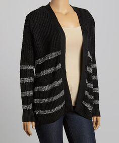 d13675e04f TrendSet Originals Black   Gray Stripe Open Cardigan - Plus