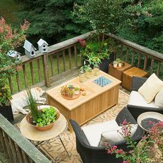 forest house balcony plants flowers outdoor rattan furniture
