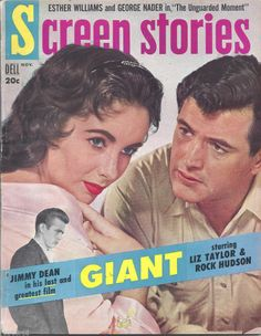 James Dean Giant movie posters | Screen Stories 1956 Movie Magazine James Dean Liz Taylor Giant Elvis ...