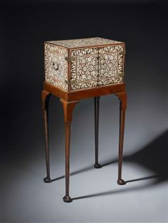 17th Century Indo-Portuguese Ivory Inlaid Cabinet / The cabinet, India, Gujarat or Sindh, circa 1680; The stand, England, circa 1730