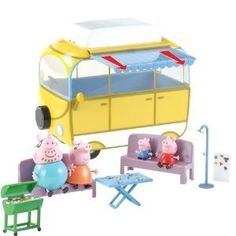 Character Options Peppa Pig Camper Van Playset Retract the awning and prepare for Peppa Pig s BBQ This fantastic Camper Van Playset includes Peppa Pig George Pig Mummy [amp Little Girl Toys, Toys For Girls, Peppa Pig Camper Van, Peppa Pig Holiday, Peppa Pig Family, George Pig, Pig Party, Cute Kids, Toy Chest
