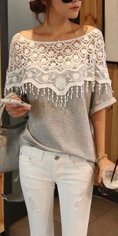 Lace, gray, white, t-shirt, off shoulder, white jeans, casual