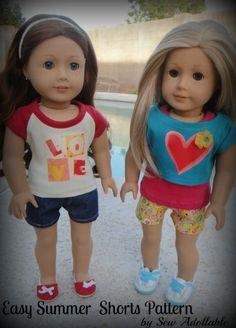 Free pattern - cute shorts pattern for american girl dolls