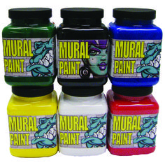 Chroma Mural Paint 16oz 6 Pack Primary Set contains Blacktop, Ice, Go, Stop, Polar, Scorched