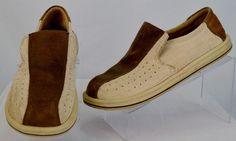 Skechers Mens 9 Slip On Brown Leather & Textile Shoes Used #SKECHERS #LoafersSlipOns
