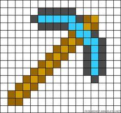 Minecraft diamond pick perler bead pattern