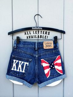Sorority Embroidered Greek Letters Levi high by BaileyRayDenim