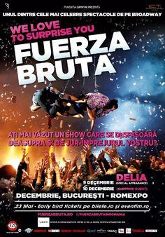 Fuerza Bruta - Delia special Appearance 10 Dec 2016 h Dec 2016, Broadway, 21st, Comic Books, Cover, Movie Posters, Strength, Film Poster, Comics