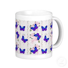 Blue Butterflies Coffee Mug by Graphic Allusions #mugs #butterflies #butterfly