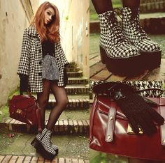 Mujjo Touchscreen Gloves, Jeffrey Campbell Boots, Choies Skirt, Choies Bag