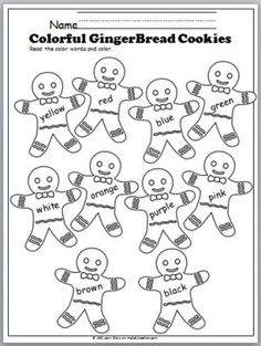 Free Color Words Gingerbread Cookies worksheet. Great Preschool and Kindergarten winter activity.