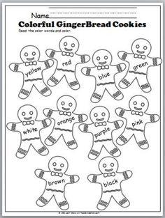 Free Color Words Gingerbread Cookies worksheet. Great Preschool and Kindergarten winter activity.