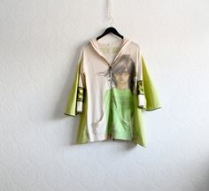 Green Boho Hoodie Beige Sweater Eco Friendly Clothing Upcycled Clothes Bell Sleeves Hooded Jacket Altered Clothing Small 'MORGAN' on Etsy, $62.00