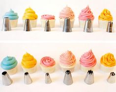 save the jpg for later :) {Cupcake Decorating} Basic Icing/Frosting Piping Techniques: How to frost cupcakes with piping tips - via niner bakes Cupcake Frosting Techniques, Icing Frosting, Icing Tips, Frosting Tips, Frosting Recipes, Cupcake Recipes, Cupcake Cakes, Cup Cakes, Buttercream Frosting