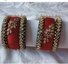 Silk Thread Bangles Design, Silk Thread Earrings, Thread Jewellery, Fabric Jewelry, Beaded Jewelry, Handmade Jewelry, Kundan Bangles, Silk Bangles, Bridal Bangles
