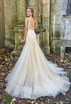 galia lahav fall 2017 bridal sleeveless deep plunging v neck heavily embroidered bodice drop waist tulle skirt sexy a  line wedding dress open back chapel train (lauren) bv -- Beautiful Bridal Dreams are Made of These…