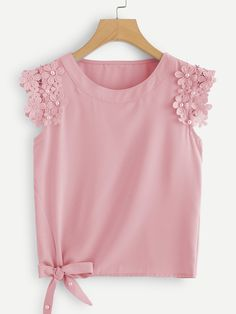 SHEIN offers Knot Side Pearl Beaded Detail Top & more to fit your fashionable needs. Blouse Styles, Blouse Designs, Girl Fashion, Fashion Dresses, Womens Fashion, Kids Frocks Design, Kids Outfits, Cute Outfits, Stylish Outfits